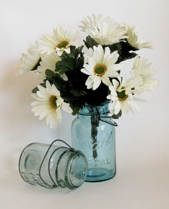 1923 to 1933 Ball Canning Jars Aqua Blue with Zinc Bales Collectible