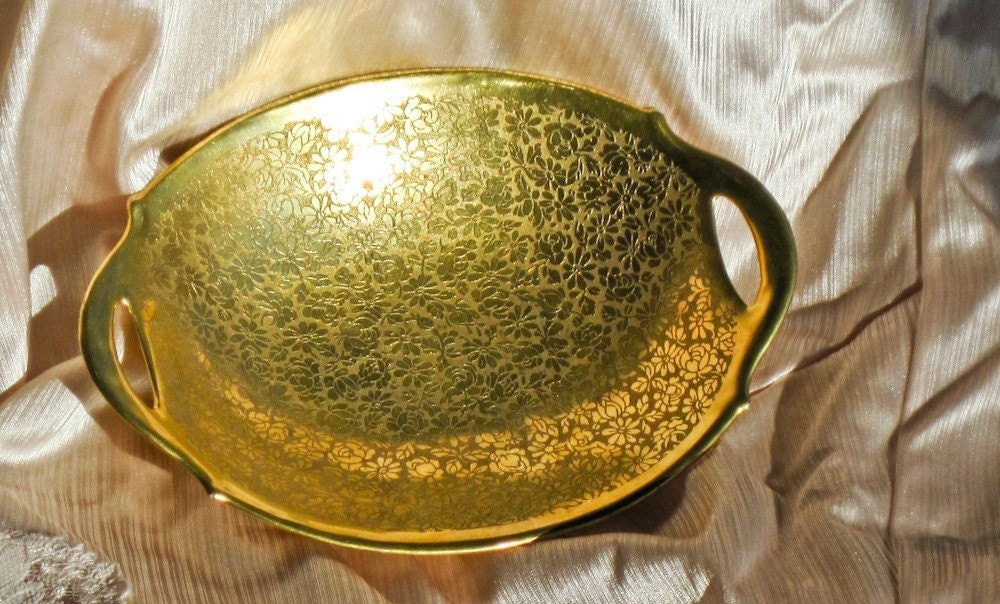 Dish 24k Gold Plated And Engraved China Osborne Signed