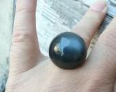 Hecate ring - black moonglow demi-ball - repurposed vintage
