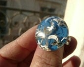 Clara cocktail adjustable ring - blue domed confetti with silver moons - eco friendly repurposed vintage