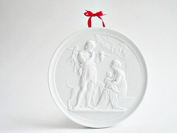 Vintage Collectible, Royal Copenhagen Snow White Bisque Plaque, Summer Season, Decorator Plate, Cottage Chic Decor