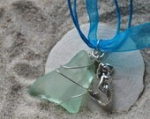 Mermaid Seaglass Necklace -  Sterling Silver Mermaid Jewelry
