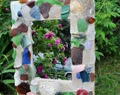 Seaglass Mirror - Shabby Chic  Cottage Chic Home Decor- Rustic Beach Glass, Pottery, and Shell Mirror