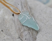 Blue Seaglass Necklace - Seaglass Jewelry - Tan Leather Cord - Sterling Silver