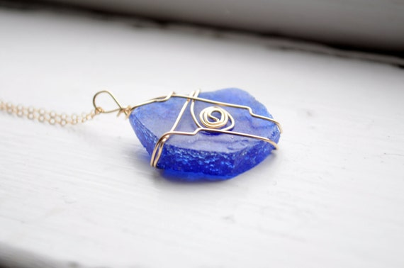 Cobalt Blue Seaglass Necklace made with 14K Gold Filled Wire and Chain