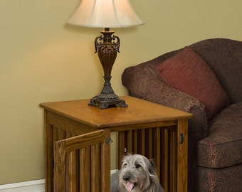 Wood Dog Crate End Table Dog Furniture-Comfy Dog Bed-Wooden Dog Furniture- Amish Made