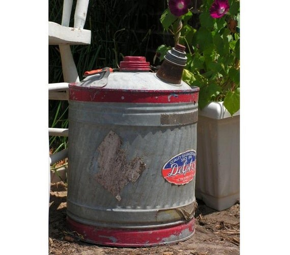 Vintage Gas Can galvanized metal oil can