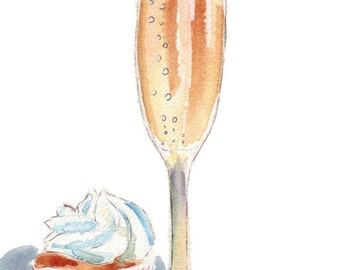 8x10 Print of Watercolor Painting - Still Life - Champagne and Cupcake Watercolor Art Print, 8x10