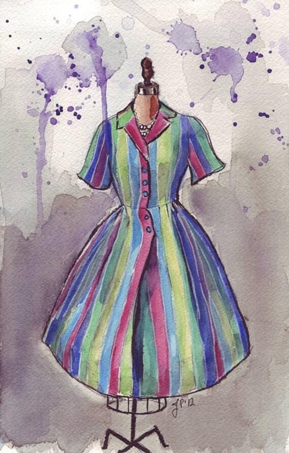 5x7 Fashion Watercolor Illustration Print- Vintage Striped Dress Watercolor Art Print - 5x7 Fashion Art