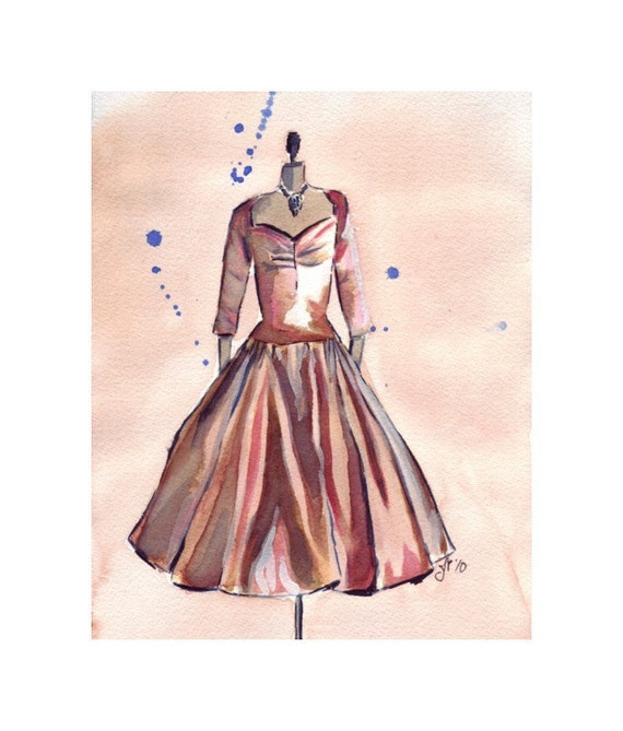 Watercolor Painting Retro Fashion Art Bronze Vintage Dress