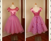 GORGEOUS 1950's New Look Custom Made Lilac Purple Silk Satin & Chiffon Party Dress w/ Gathered Back Skirt and 3D Roses - VLV - Size Petite S