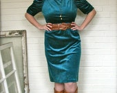 Ruched Puff Sleeve Teal Velvet Pencil Party Dress - M/L