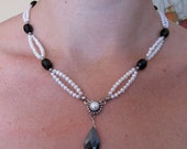 Sterling Silver Double Stranded Pearl - Onyx Beaded Necklace with CZ Drop for Women.  OOAK Sterling Silver Handmade Jewelry For Her on Etsy