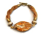 Artisan Stone Bracelet Wire Wrapped Jewelry Exotic Tibetan Agate Vintage Brass Mesh Chain