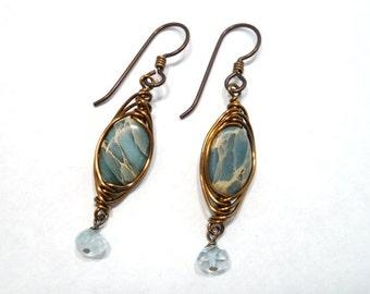 Stone Jewelry Wire Wrapped Dangle Earrings Aquamarine Aqua Terra Jasper
