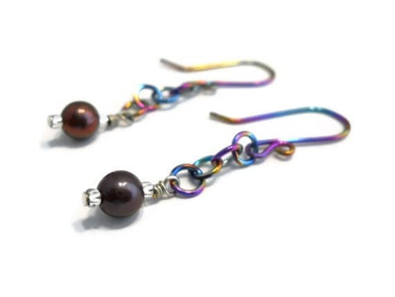 Black Pearl Dangle Earrings Rainbow Niobium Multi Color Colorful Hypo Allergenic