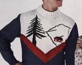 Vintage Ski Lodge Mens Pullover Sweater to Knit PDF Pattern Color work pattern