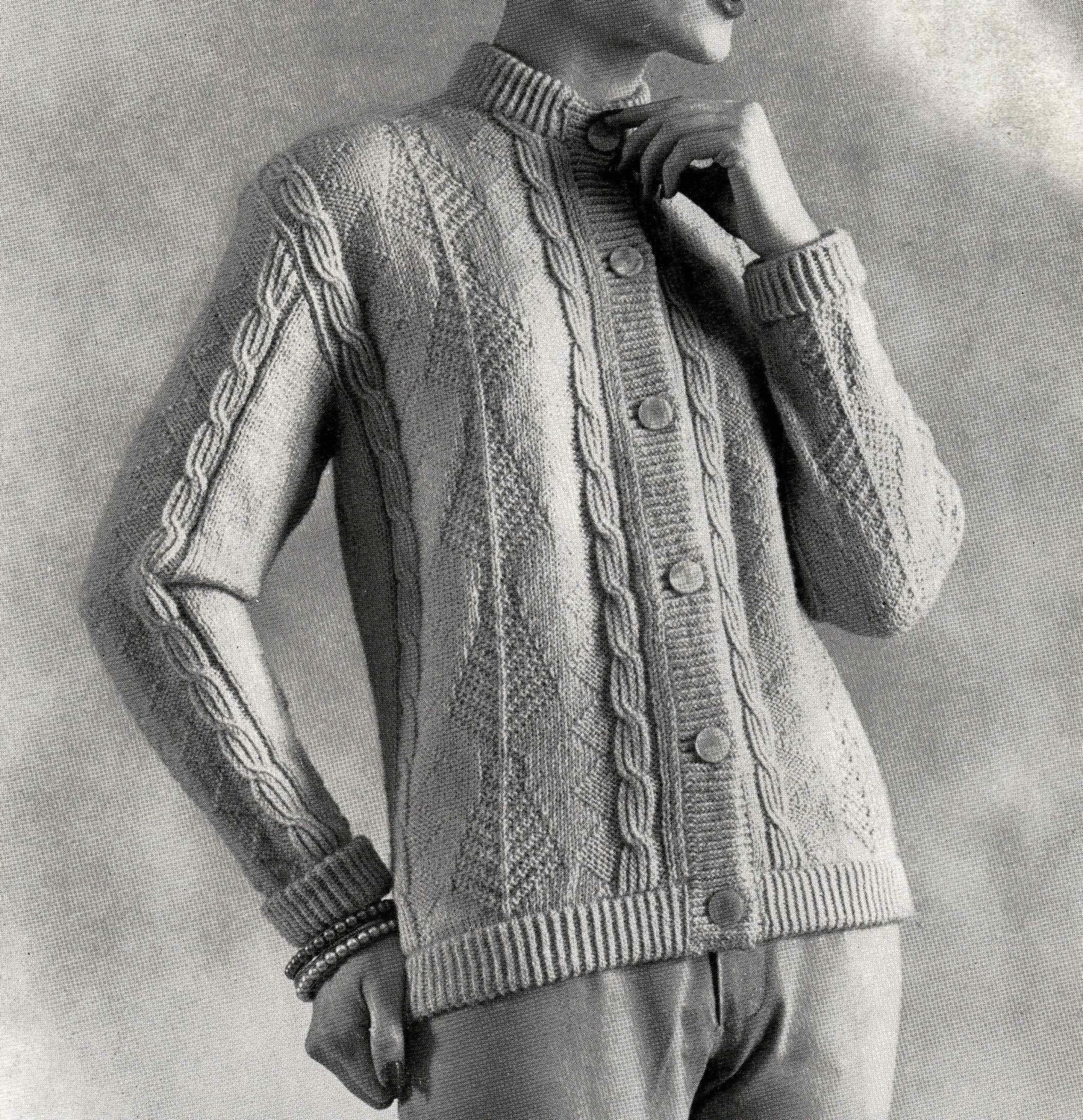 PATTERN Vintage Cable Knit Sweater Button Down Cardigan