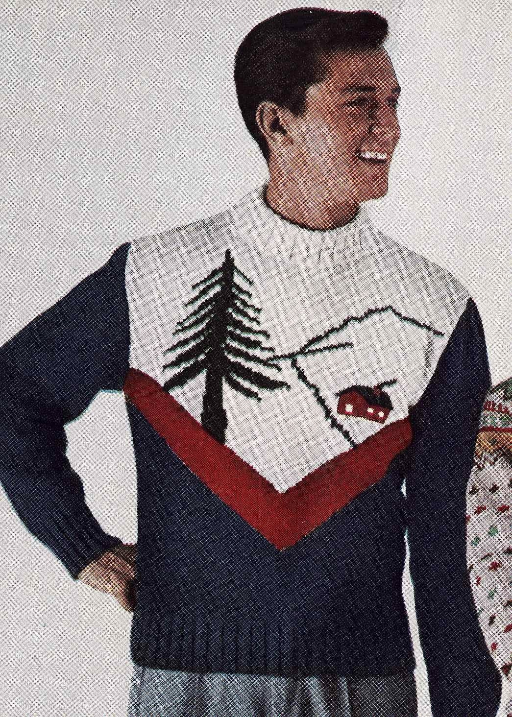 Vintage Ski Lodge Mens Pullover Sweater to Knit PDF Pattern