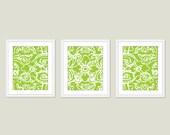 Abstract Flower Digital Print Set Fresh Green Wall Art Modern Home Decor Spring - Lace