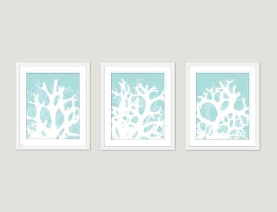 Coral Art Prints - Coral Wal Art - Nautical Wall Art - Nautical Decor - Set of 3  prints - 5x7 or 8x10 - Frames not included - Aldari Art