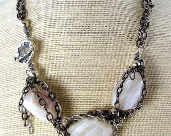 LP 60 White Botswana Agate Necklace