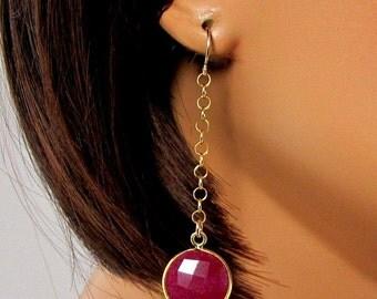 LP 755  Gold Vermeil Ruby Earrings