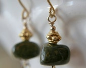 Tourmaline Nugget, and Vermeil Earring