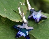 Bermuda Blue Swarovski Starfish Earrings in Sterling (Graduation gift)