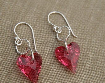 Swarovski Hearts and Sterling Earrings