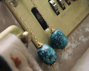Natural Turquoise and Gold Filled Chain Earrings