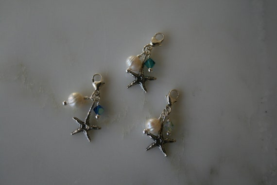 Sterling Clip on Charm for Braclets or Necklaces:  Starfish, Pearl & Crystal