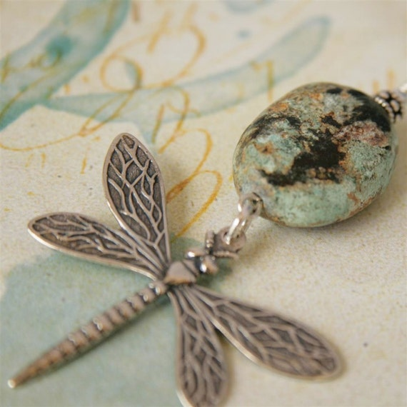 Sterling Dragonfly and Hubei Turquoise Necklace