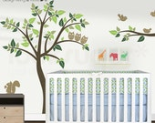 Children Wall Decals - Owl tree Decal with Birds - 0040