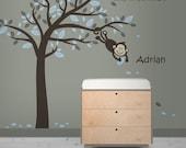 Vinyl Wall Art - Monkey Tree Decal w/ Personalized Sticker
