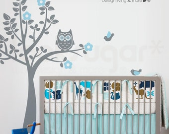Nursery Wall Decal - Owl Tree Wall Decal - Tree Wall Decal with Birds - 0039