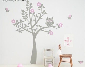 Owl Tree Wall Decal for your modern nursery - Bird Tree Wall Sticker - 0039