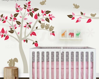Bird Tree Decal - Owl Tree Decal - Baby Nursery Wall Decal - 0400