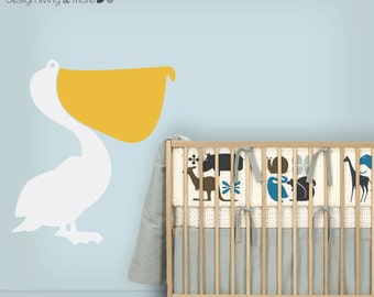 Children wall decal Pelican Bird Modern Vinyl Wall Decal Sticker for Home / Kids / Children / Nursery wall decal