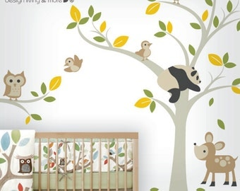 Forest Wall Decal with Owl Tree Branch - Bird Tree Wall Stickers - Pand and Deer -0041