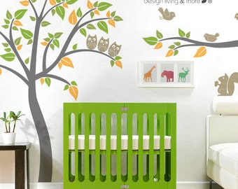 Bird Tree Wall Decal - with Owls in Tree - 0040