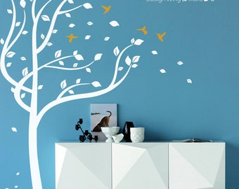 Tree Wall Decals with Birds - Hummingbirds Stickers - 0053