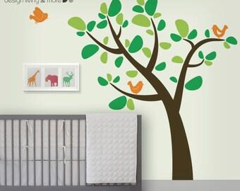 Nursery Wall Decal - Tree Wall Decal with Birds - Bird Tree Decal - 0061