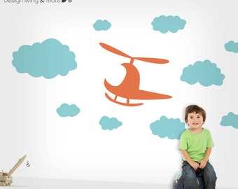 Modern Nursery Wall Decals with Helicopter and Clouds - 0069