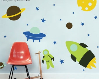 Outer Space Wall Decal - Nursery Wall Decals - Rocket Wall Decal - Rocket Sticker - 0083