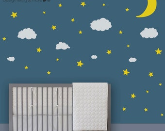Baby Nursery Wall Decals - Moon Stars Clouds - Children Wall Stickers - 0086
