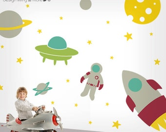 Nursery Wall Decal - Outer Space Wall Sticker - Kids Wall Decal - Large - 0083
