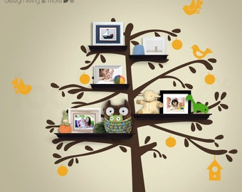 Shelving Tree Wall Stickers with Bird Decals - Tree Wall Shelves for Kids / Baby Nursery - 0093