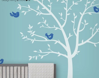 Tree Decals - Children Wall Decals with Birds -  Nursery Wall Stickers - Baby Room Decoration - Nursery Wall Art - White Tree Decal - 0074
