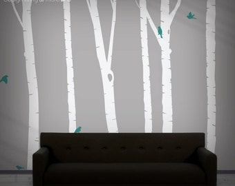 Birch Tree Decal - Forest Wall Decal for Baby Nursery - Nature Wall Decal - Removable Wall Stickers - 0051